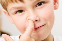 Caucasian European school boy closeup portrait Stock Photography