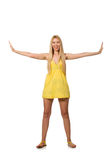 The caucasian fair model in yellow summer dress isolated on white Royalty Free Stock Images