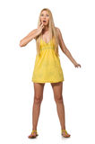 The caucasian fair model in yellow summer dress isolated on white Stock Photography