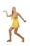 The caucasian fair model in yellow summer dress isolated on white Royalty Free Stock Photography