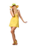 The caucasian fair model in yellow summer dress isolated on white Royalty Free Stock Photos