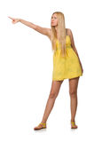 The caucasian fair model in yellow summer dress isolated on white Stock Photo