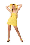 The caucasian fair model in yellow summer dress isolated on white Stock Photos