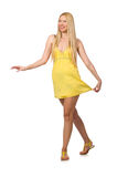 The caucasian fair model in yellow summer dress isolated on white Stock Images