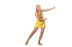 The caucasian fair model in yellow summer dress isolated on white Royalty Free Stock Photo