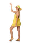 The caucasian fair model in yellow summer dress isolated on white Stock Image