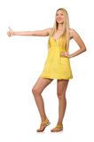 Caucasian fair model in yellow summer dress isolated on white Stock Photography