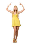 Caucasian fair model in yellow summer dress isolated on white Royalty Free Stock Photos