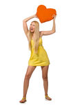 The caucasian fair model in yellow summer dress  on white Royalty Free Stock Image