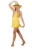 The caucasian fair model in yellow summer dress  on white Stock Images