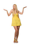 The caucasian fair model in yellow summer dress  on white Royalty Free Stock Images