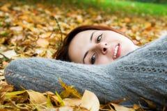 caucasian fall girl season Στοκ Εικόνες