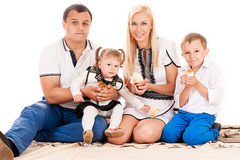 Caucasian family with children Royalty Free Stock Photography