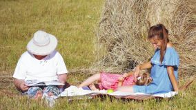 Caucasian family have picnic in the meadow. Family with grandmother, mother and little daughter doing picnic outdoor with a melon in the meadow near the haystack stock video
