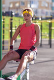 Caucasian Female Athlete in Professional Training Outfit Having Outdoor Workout Stock Photos