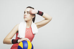 Caucasian Female Athlete in Volleyball Outfit Looking Up Royalty Free Stock Image