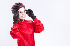 Caucasian  Female Cycling Athlete Posing Equipped in Professional Outfit Stock Image