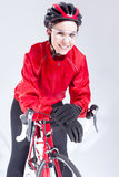 Caucasian Female Cyclist Equipped in Cycling Outfit and Posing With Road Bike Stock Image