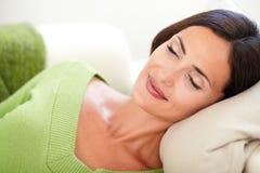 Caucasian female lying on her back Stock Images