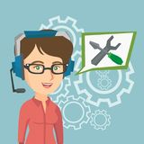Young caucasian technical support operator. Caucasian female operator of technical support wearing headphone set. Young technical support operator and speech Royalty Free Stock Photos