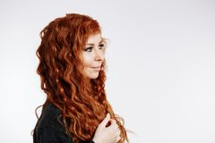 Portrait of pretty redhead woman royalty free stock photos