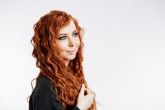 Portrait of pretty redhead woman stock images