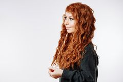 Portrait of pretty redhead woman stock photography