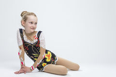 Caucasian Female Rhythmic Gymnast Athlete In Professional Competitive Suit Stock Photography
