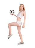 Caucasian female with soccer ball on white background Royalty Free Stock Photo