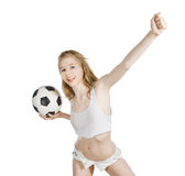Caucasian female with soccer ball on white Royalty Free Stock Image
