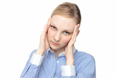 Caucasian female touch the head Royalty Free Stock Images