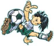 Caucasian flicka för fotboll för avbrottsdans Royaltyfri Bild