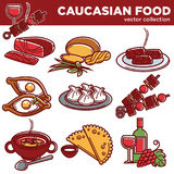 Caucasian food dishes traditional cuisine vector icons for restaurant menu Royalty Free Stock Photos