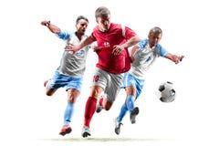 Caucasian fotbollspelare som isoleras på vit bakgrund arkivbilder