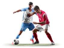 Caucasian fotbollspelare som isoleras på vit bakgrund arkivfoton