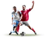 Caucasian fotbollspelare som isoleras på vit bakgrund royaltyfri bild