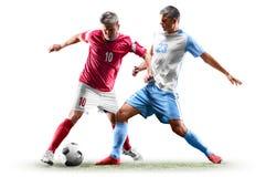 Caucasian fotbollspelare som isoleras på vit bakgrund arkivbild
