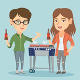 Caucasian friends having fun at barbecue party. Royalty Free Stock Photos