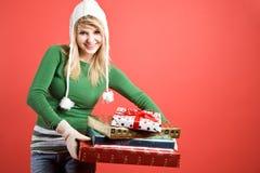 caucasian gifts girl holiday στοκ φωτογραφία