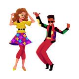 Caucasian girl and black man at eighties retro disco party. Caucasian girl and black man in 1980s, eighties style clothes dancing disco, cartoon vector Royalty Free Stock Photography