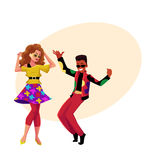 Caucasian girl and black man at eighties retro disco party. Caucasian girl and black man in 1980s, eighties style clothes dancing disco, cartoon vector Stock Photography