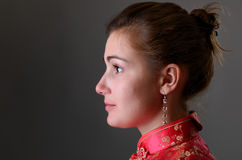 Caucasian girl in the Chinese dress Stock Photography