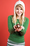Caucasian girl with christmas ornament Royalty Free Stock Image