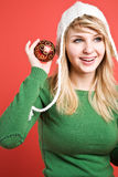 Caucasian girl with christmas ornament Stock Photo