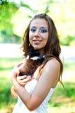 Caucasian girl  with cute kitten Stock Photos