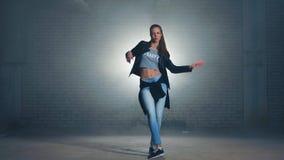 Caucasian girl dancing hip hop. Caucasian girl dancing hip hop stock video footage