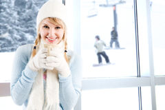 Caucasian girl drinking coffee Royalty Free Stock Image
