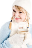Caucasian girl drinking coffee Royalty Free Stock Images