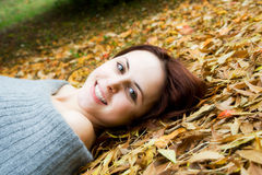 Caucasian girl in fall season Royalty Free Stock Image
