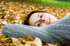 Caucasian girl in fall season Stock Photo